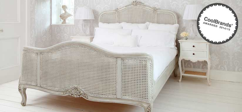 French Grey Rattan Bed