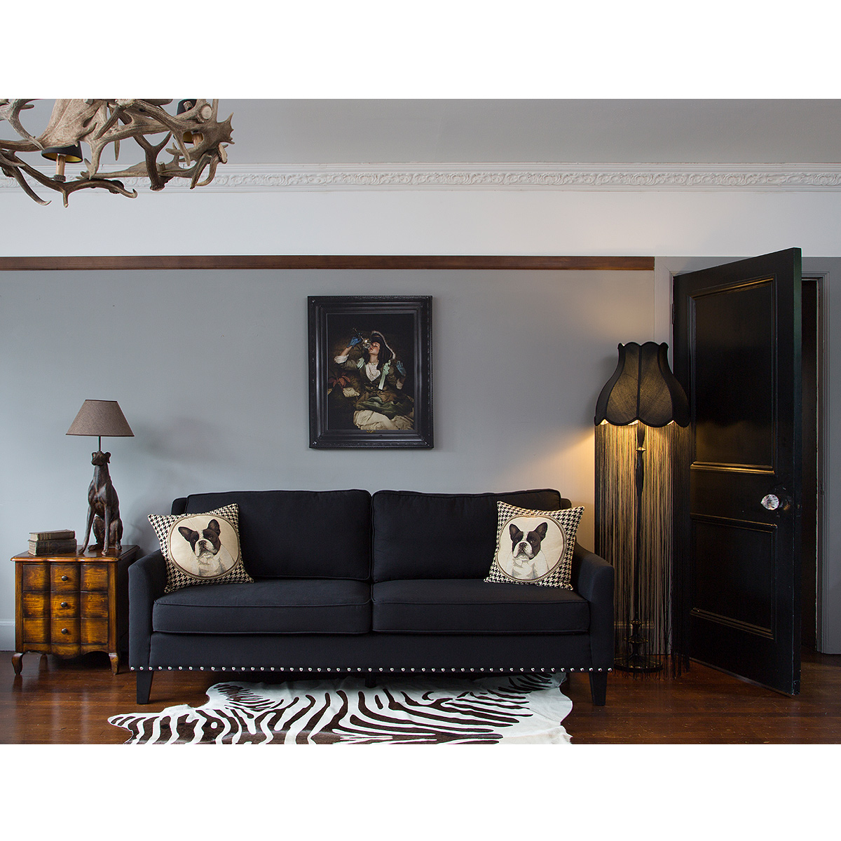 bigwig studded black sofa french bedroom company. Black Bedroom Furniture Sets. Home Design Ideas