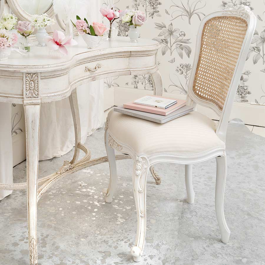 Provencal white rattan french chair french bedroom company for Bedroom table chairs