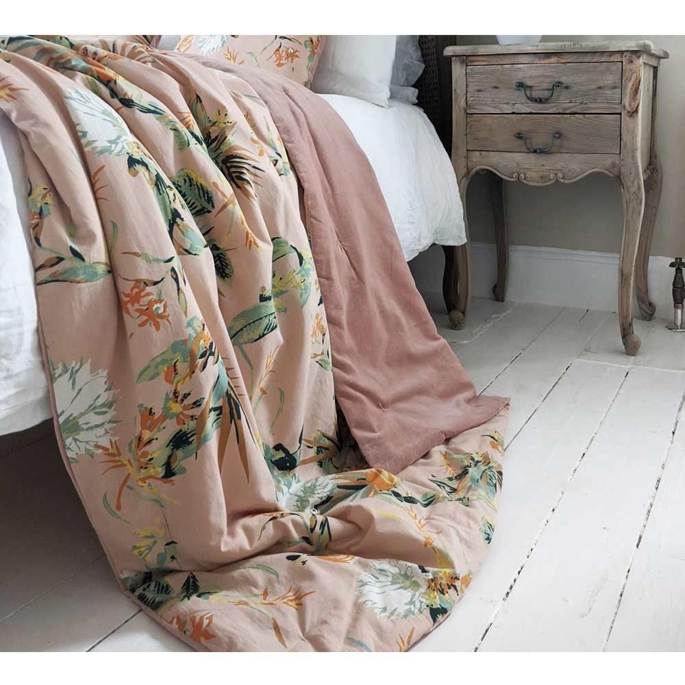 image-Apricity Pink Velvet Bedspread