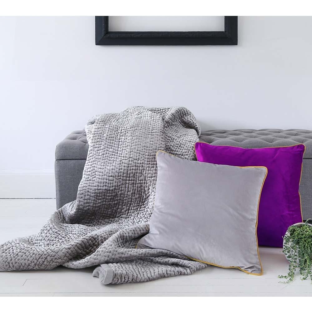 image-Brooklyn Silver Velvet Bedspread - Large Throw