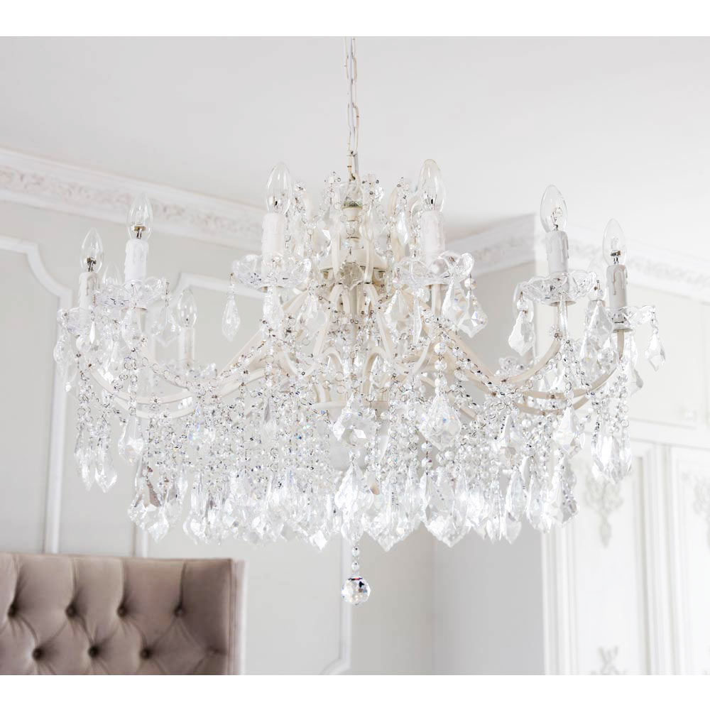 image-Chambery White Glass Chandelier - Crystal Chandelier