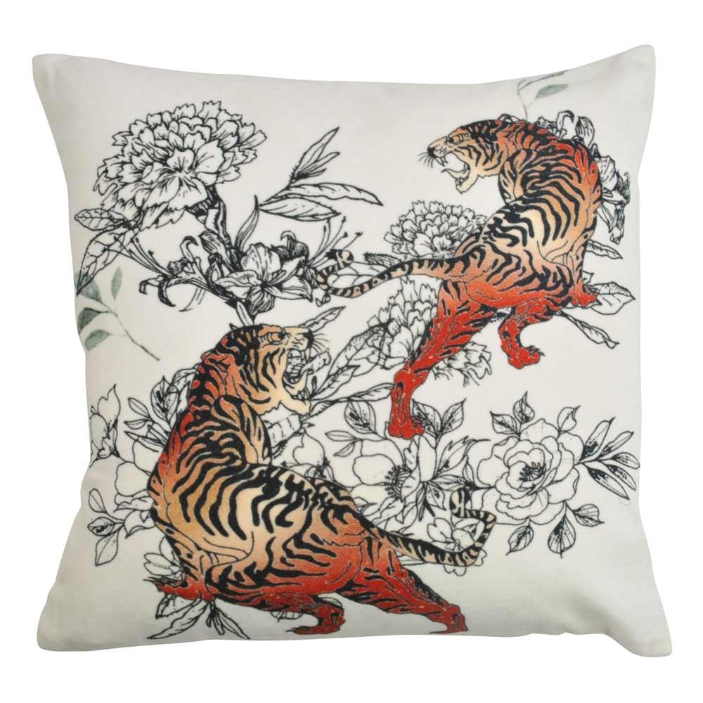 image-Creeping Tigers Velvet Cushion