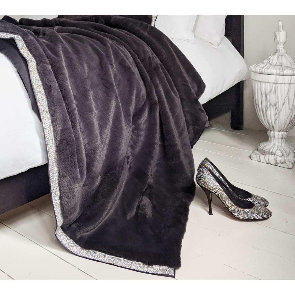 image-Emina Charcoal Faux Fur Throw By Rita Ora