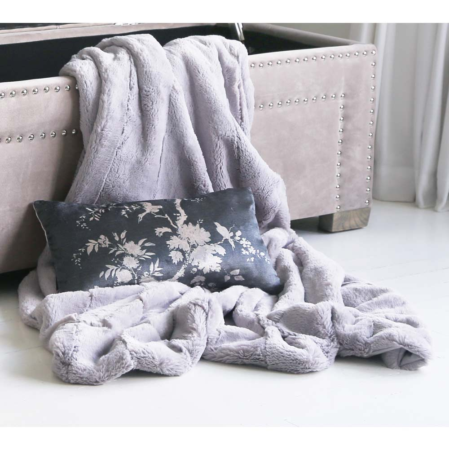 image-Mimi Faux Fur Throw - Grey Blanket