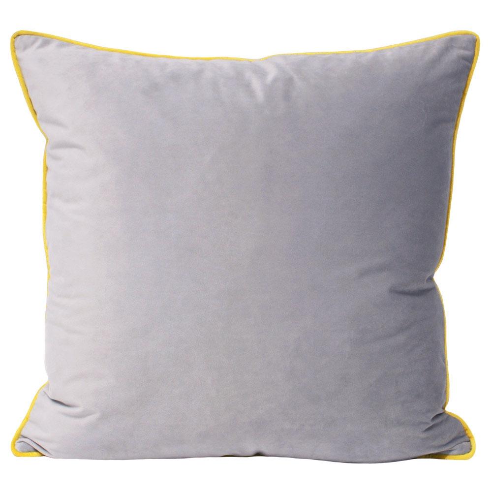 image-Essence Velvet Cushion - Dove Grey & Yellow Cushion