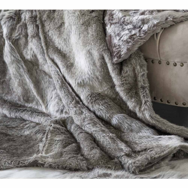 image-Husky Brown Faux Fur Throw - Luxury Throw