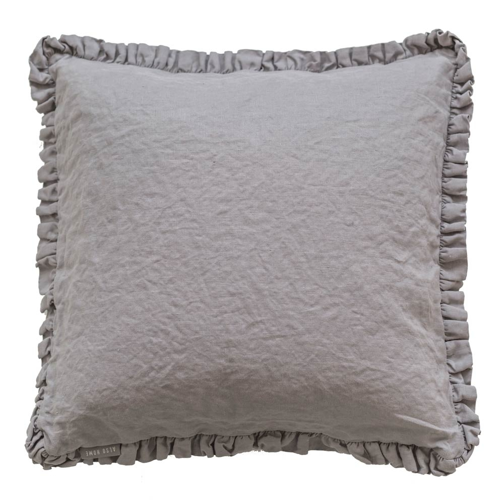 image-Oli Ruffle Grey Linen Cushion