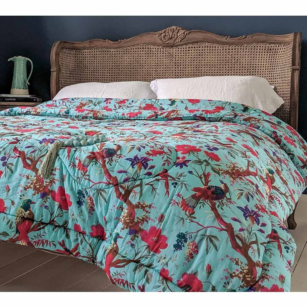 image-Blossom in Paradise Blue Quilted Bedspread