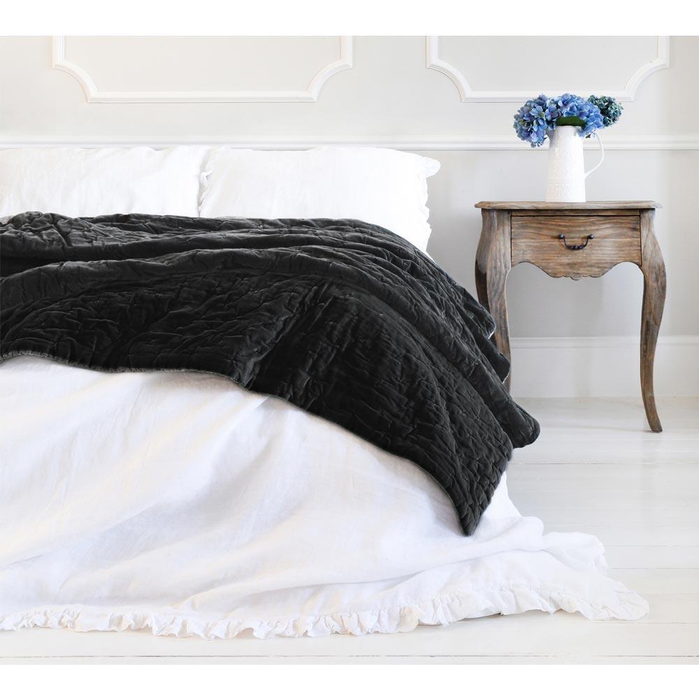 image-Slate Grey Velvet Throw - Black Velvet