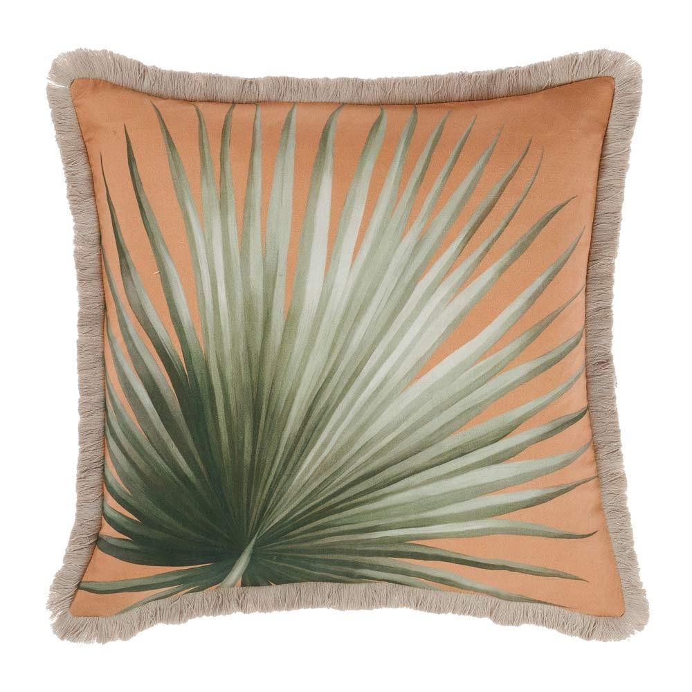 image-Tropical Palm Print Fringed Cushion