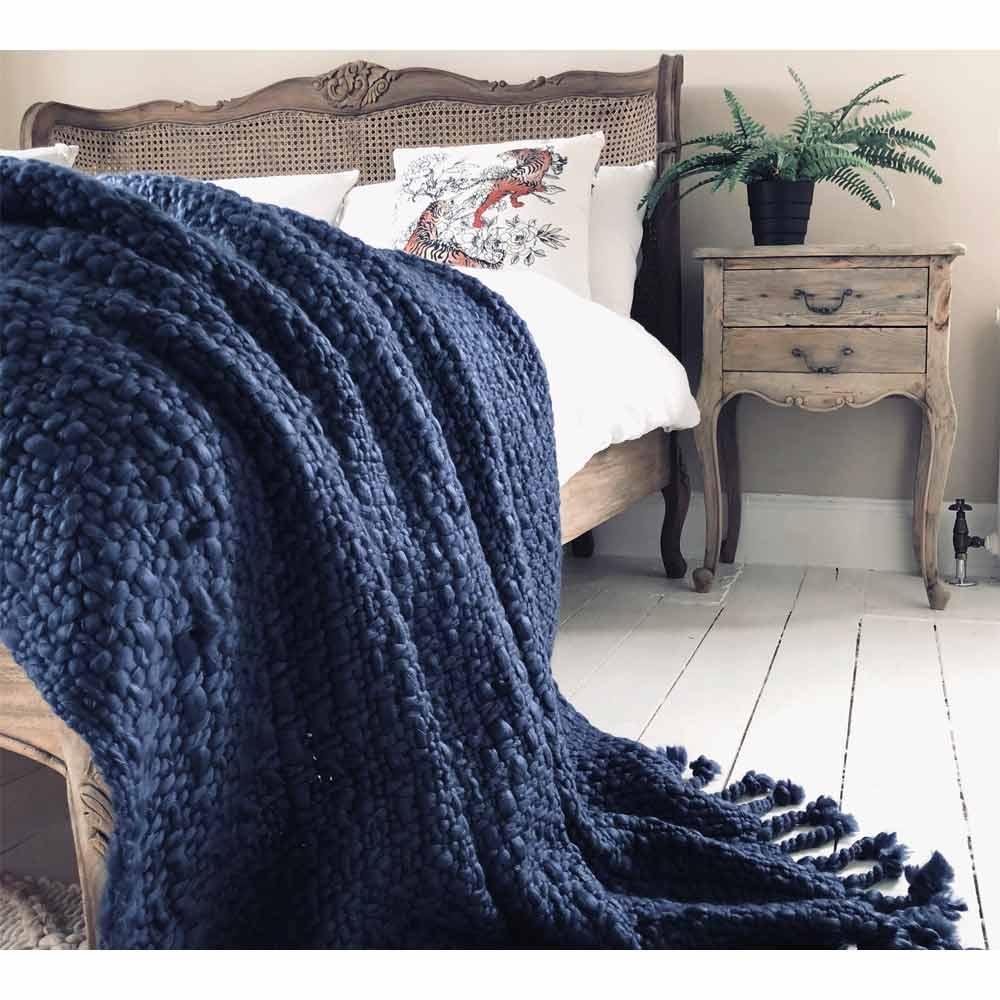 image-Wide Knit Navy Blue Tasselled Blanket