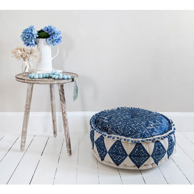 Blue Embroidered Floor Pouffe