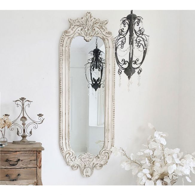 Long Curved Wall Mirror with Classic French Detailing