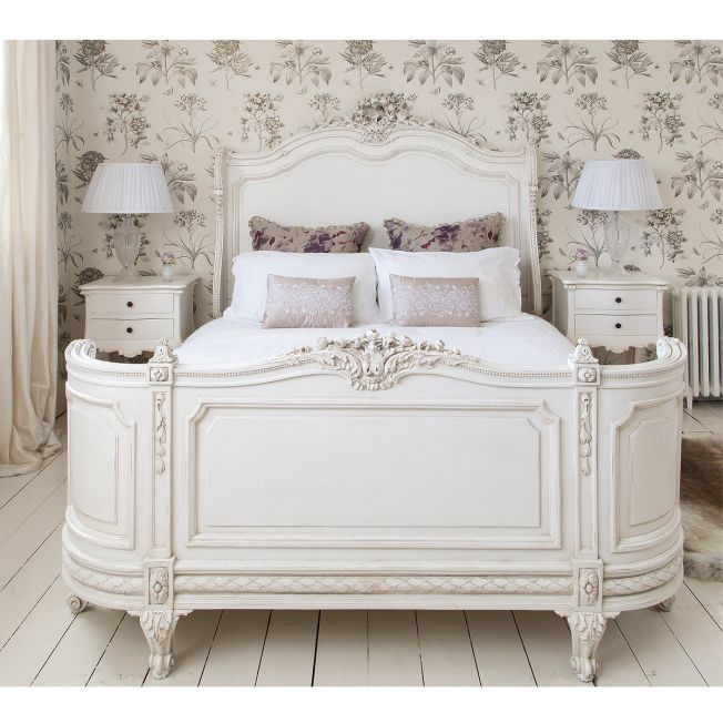 White Carved Bed