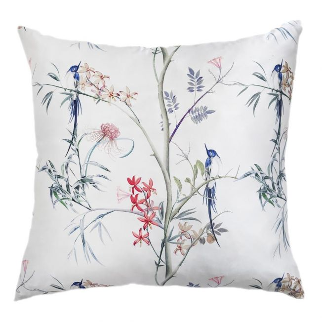 Botanical Hummingbirds Print Silk Cushion Cover