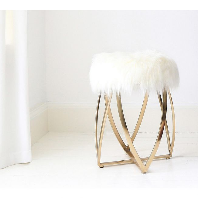 Gold Base & Fur Top Stool
