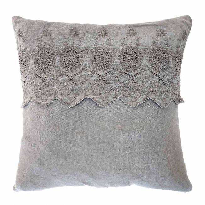Broiderie Anglaise Cushion in Grey Linen
