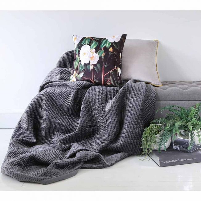 Brooklyn Pewter Velvet Large Bedspread