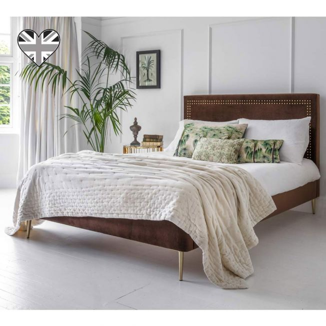 Calvados Brown Velvet Bed
