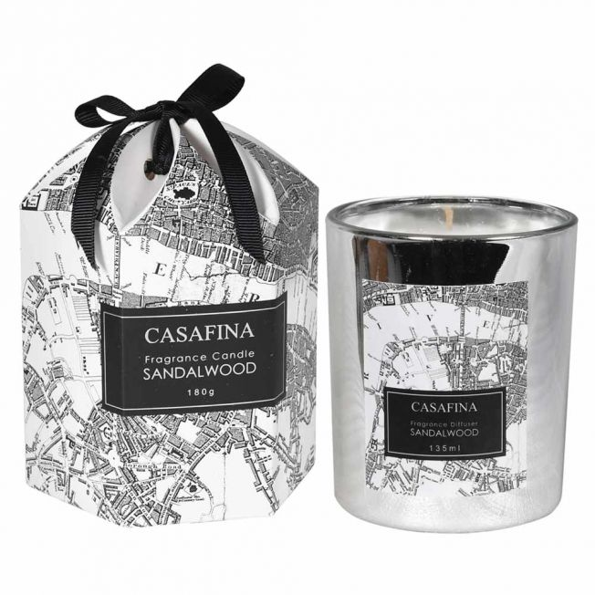 Luxury Sandalwood Candle with a Special London Map Gift Box