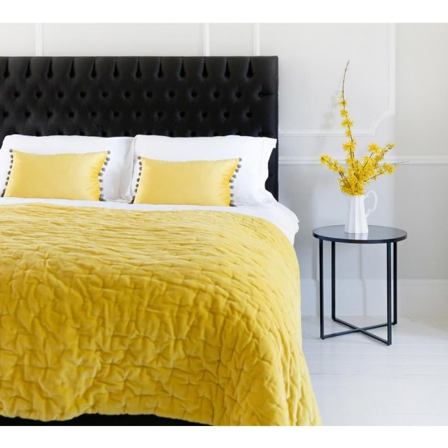 Yellow Velvet Throw