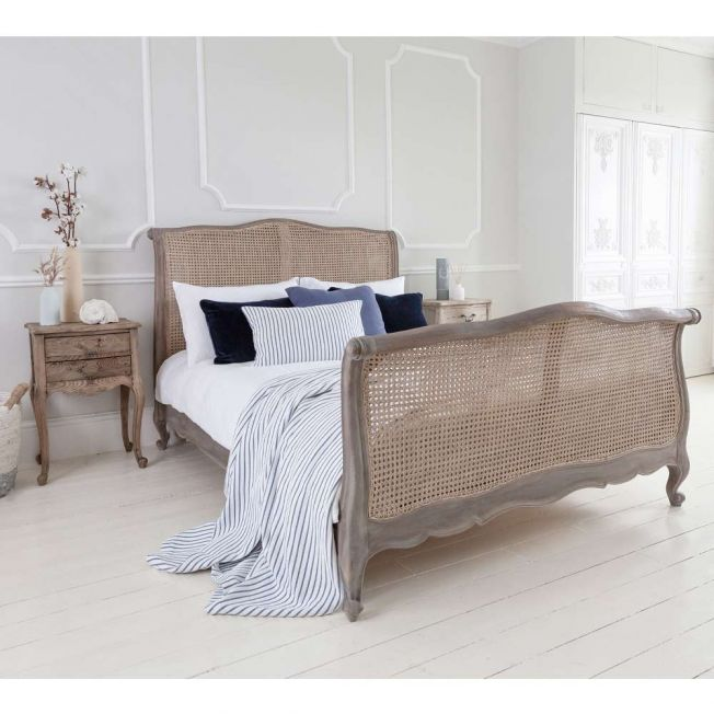 Chateauneuf Whitewash Rattan Sleigh Bed