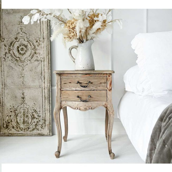 Wooden 2 Drawer Side Table