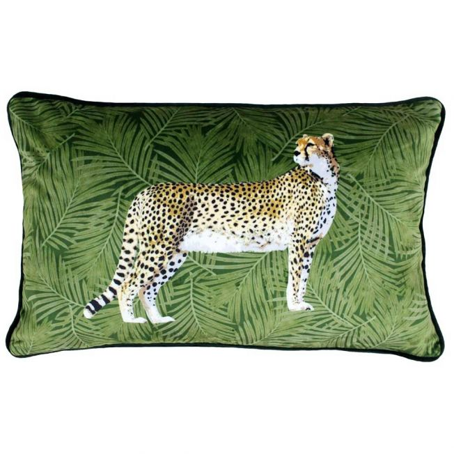 Cheetah and Palms Velvet Cushion with Feather Inner
