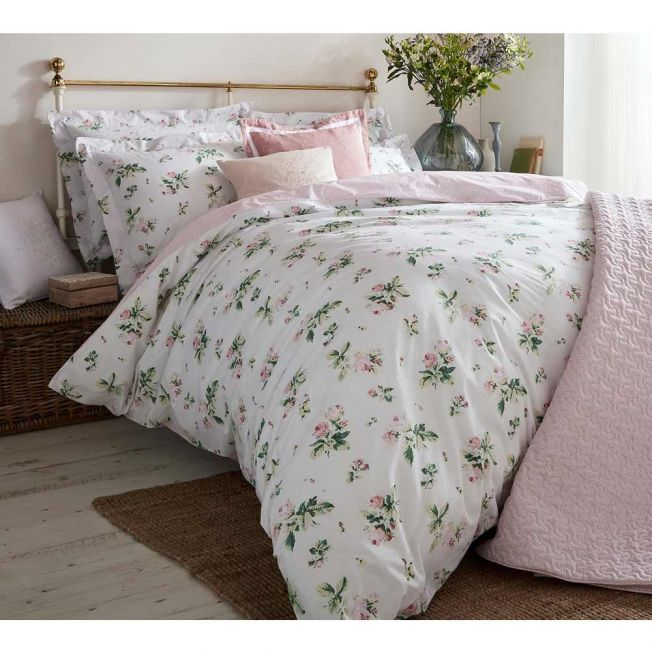 Clementine Pink Floral Bed Linen