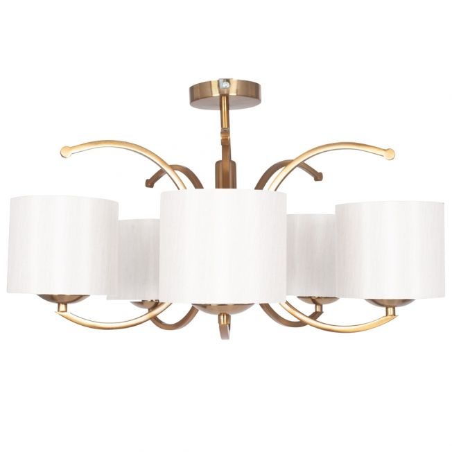 Brushed Gold 5-Light Pendant with Ivory Shades