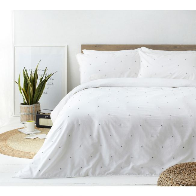 Sunday Morning Embroidered Bed Linen Set in White