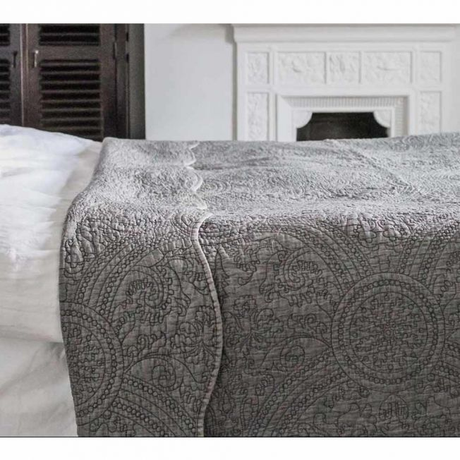 Colette Charcoal Grey Quilted Bedspread