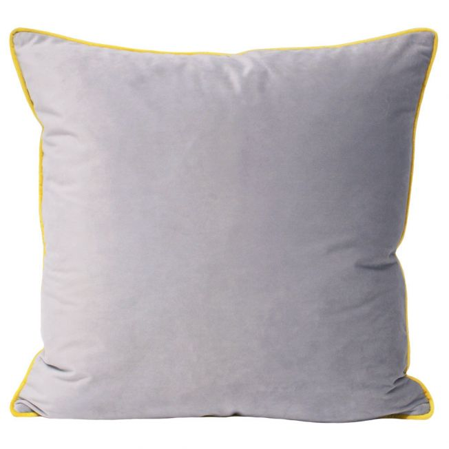 Essence Velvet Cushion in Dove Grey & Yellow