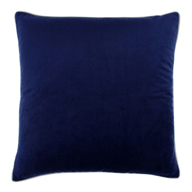 Essence Velvet Cushion in Navy and Silver