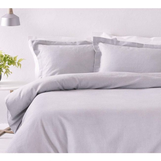 Flat Waffle Lilac Grey Bed Linen Set