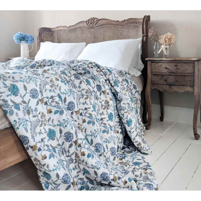 Blue and White Pattern Quilted Bedspread