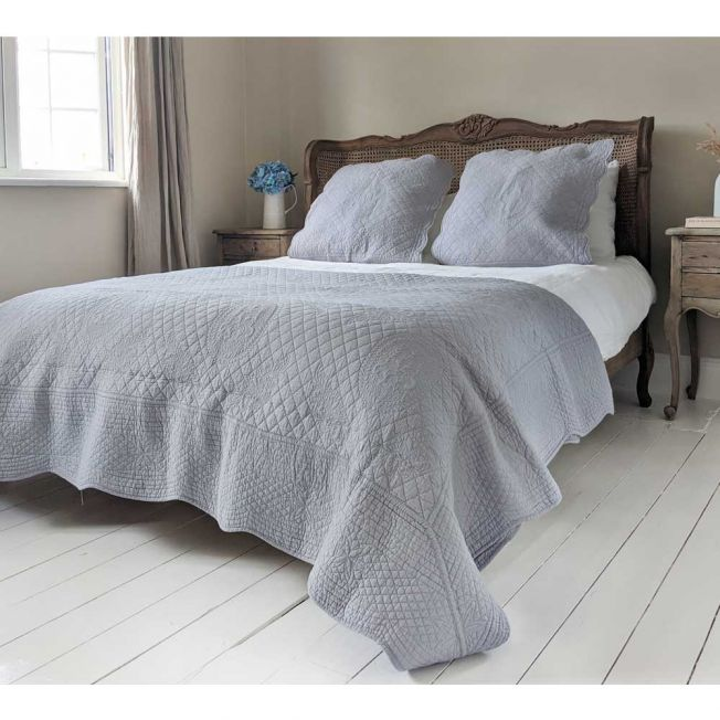 French Grey Bedspread and Pillow Sham Set