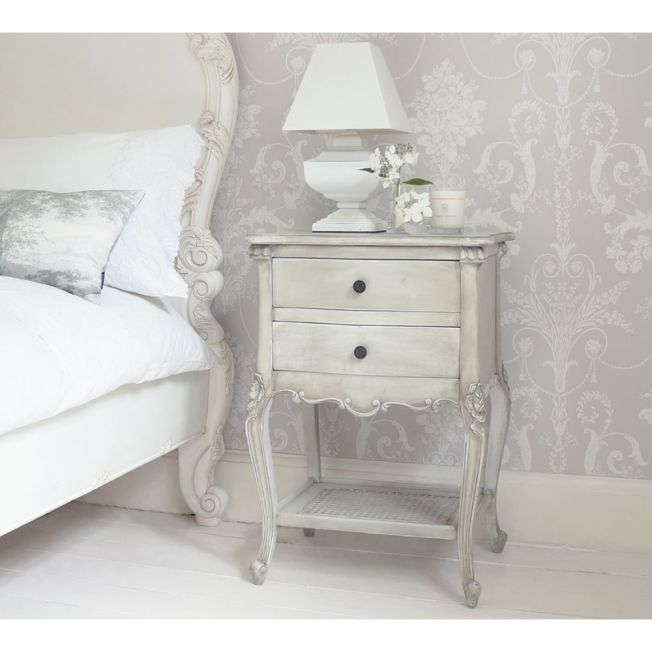 French Grey 2-Drawer Rattan Bedside Table