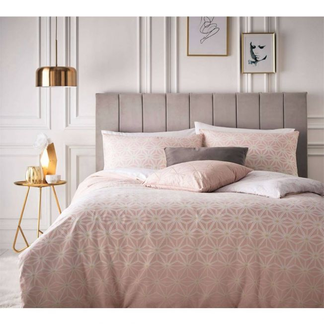Pink Geometric Flowers Bed Linen
