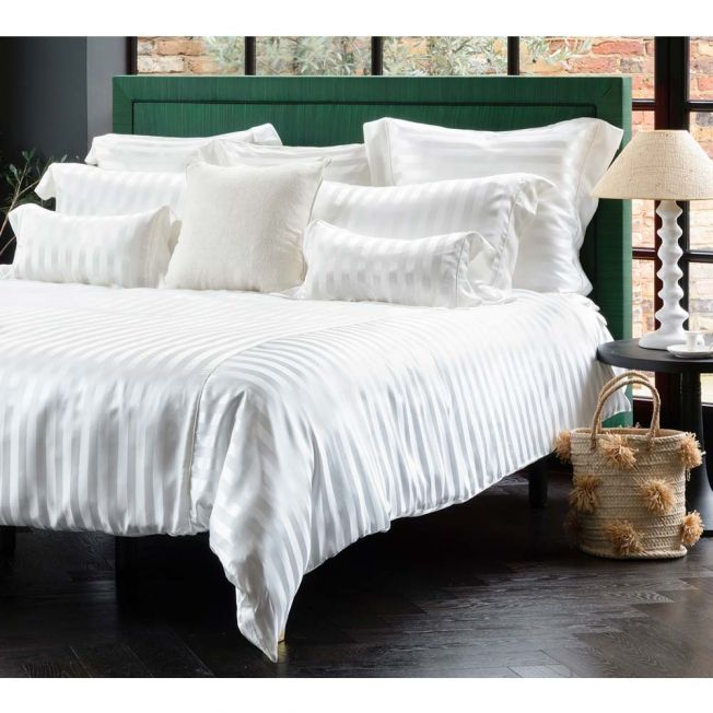 Mulberry Silk Bed Linen by Gingerlily in Ivory Stripe
