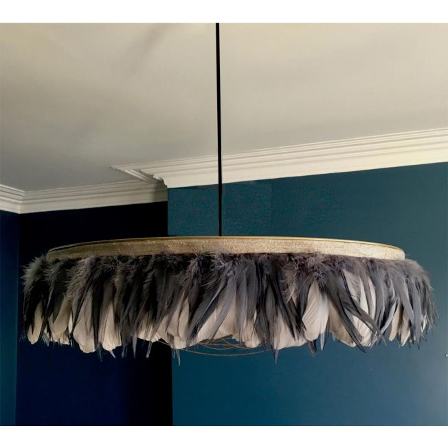 Glorious Gloria Grey Feather Pendant