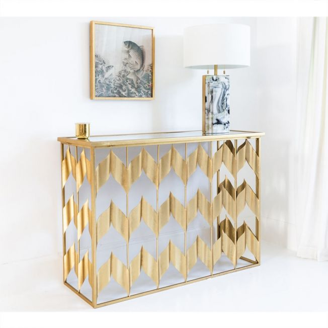 Mirrored Top Console Table