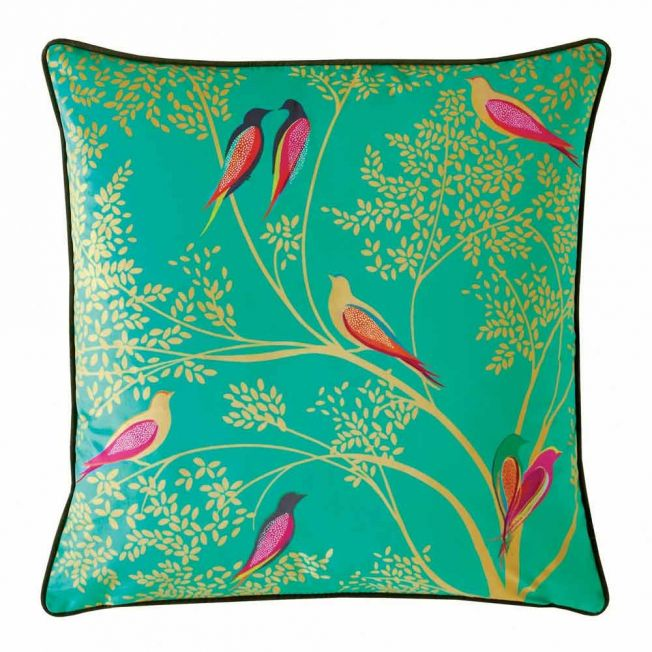 Green Birds Velvet Cushion by Sara Miller