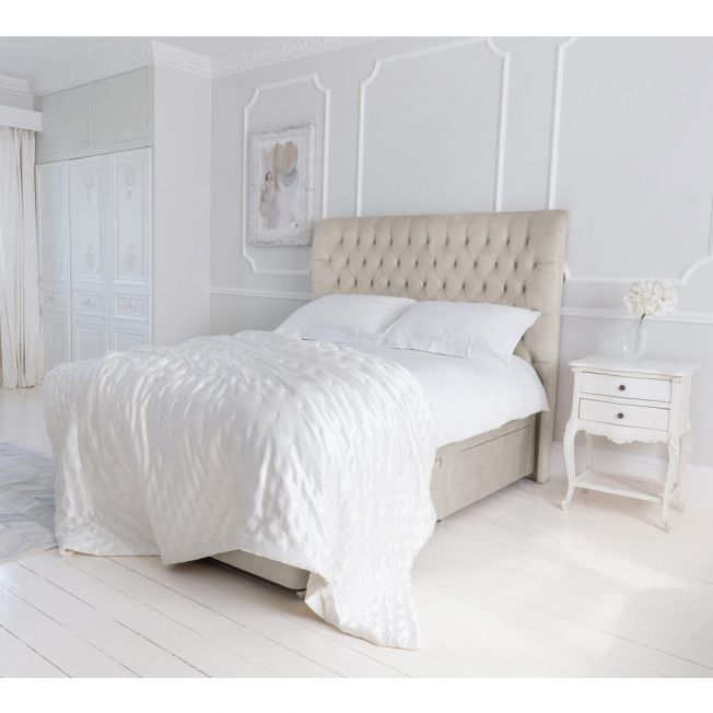 Heavenly Hinch Upholstered Storage Bed in Pale Taupe