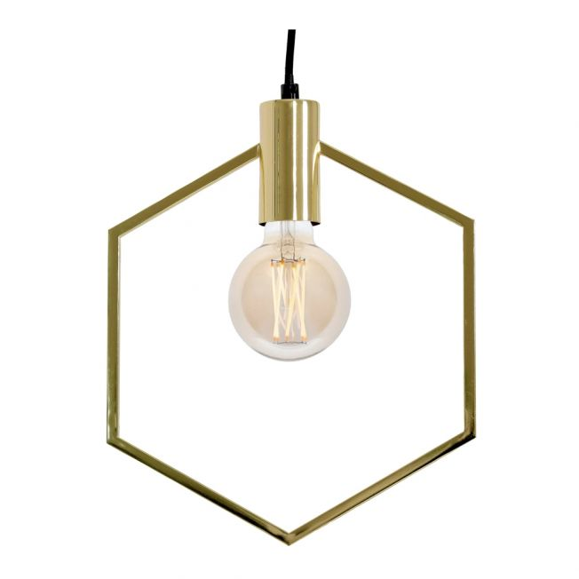 Hexagon Gold Pendant Light