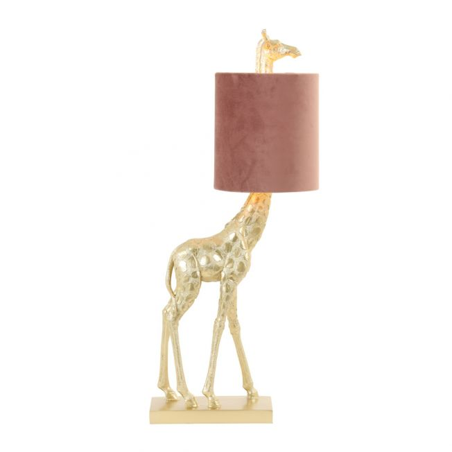 Giraffe Table Lamp in Gold with a Soft Pink Velvet Shade