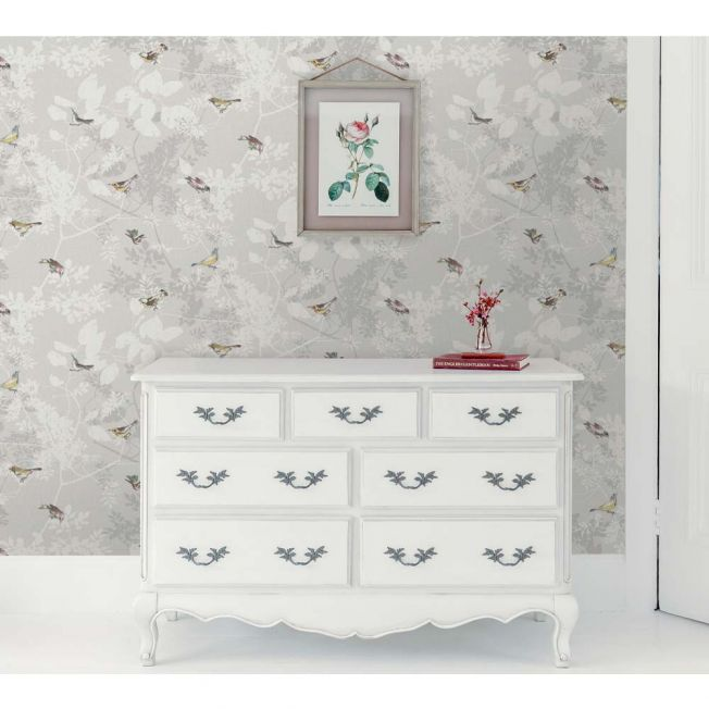Julia Birds Pale Grey Wallpaper by Elizabeth Ockford