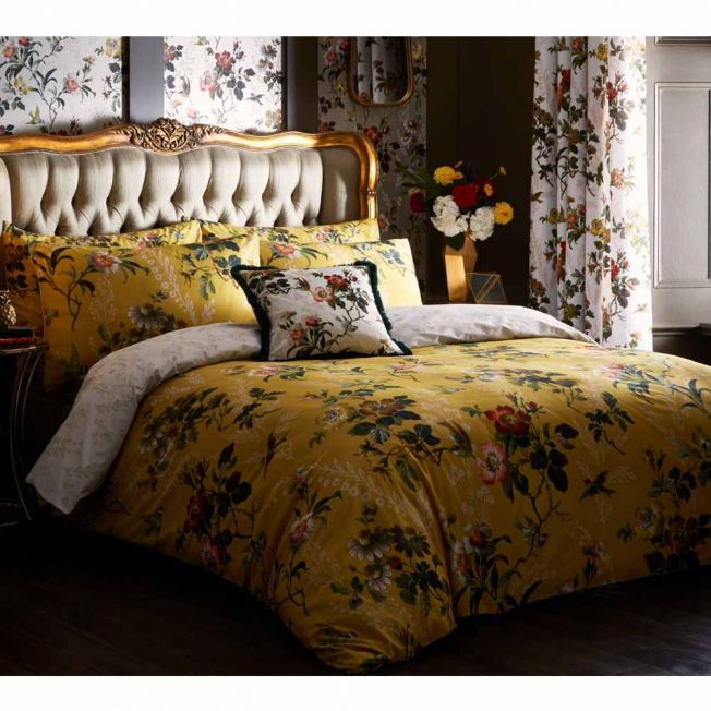 Leighton Ochre Reversible Bed Linen Set by Oasis Home