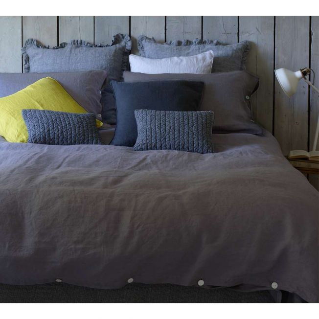 Lisbon Grey Linen Bed Linen Lifestyle